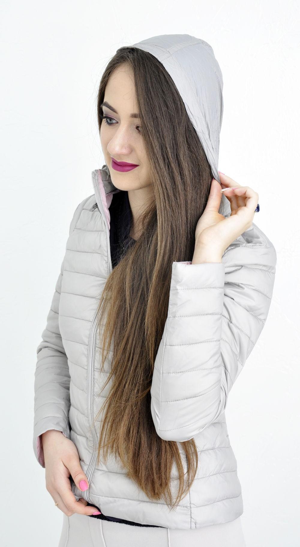 куртка на синтепоне серая короткая