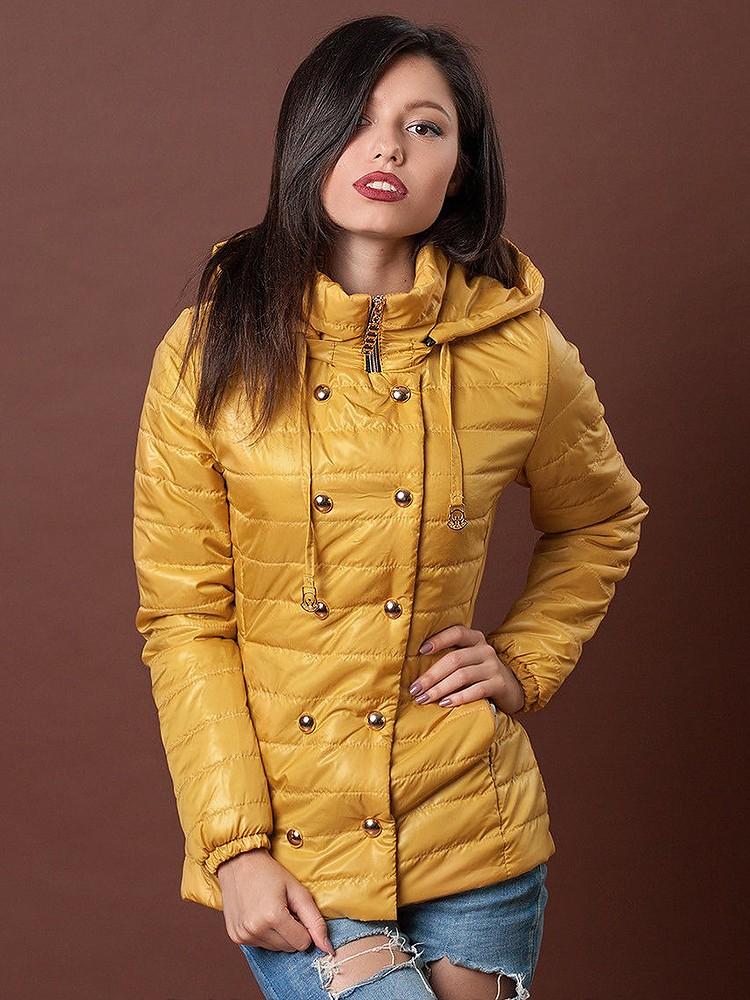 куртка на синтепоне желтая с кнопками