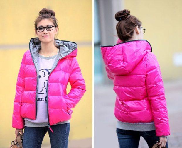 куртка на синтепоне розовая короткая с серой подкладкой