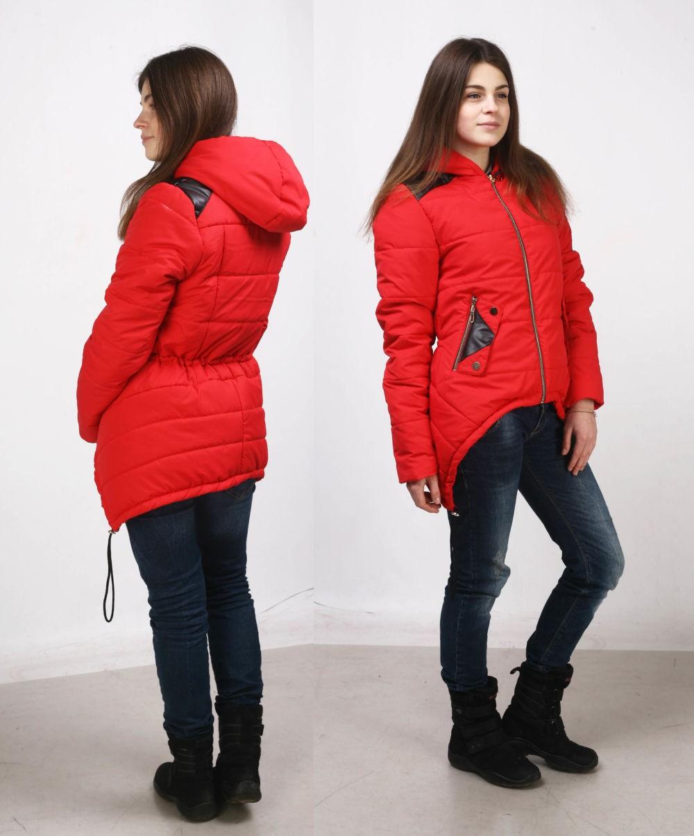 куртка на синтепоне красная асимметрия с капюшоном