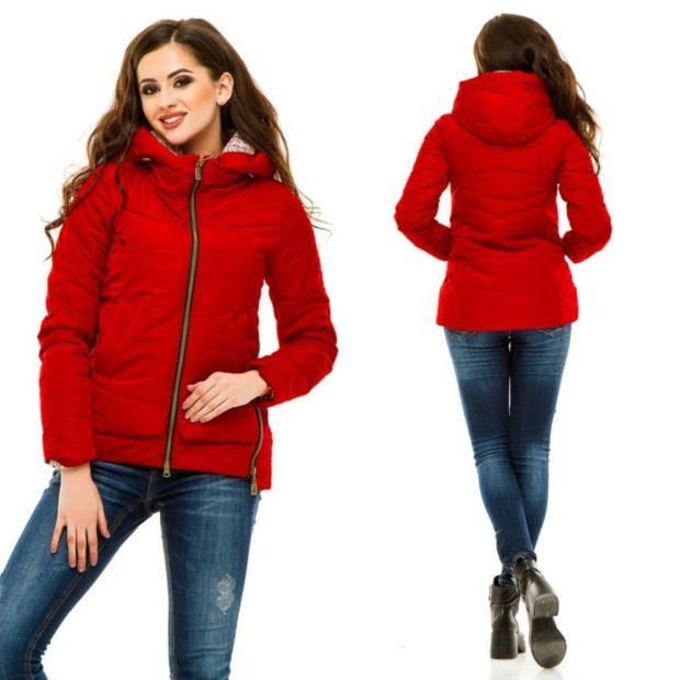 куртка на синтепоне красный с капюшоном