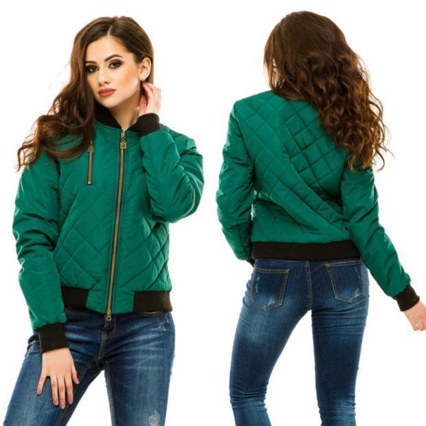 куртка на синтепоне зеленая с резинками на рукавах