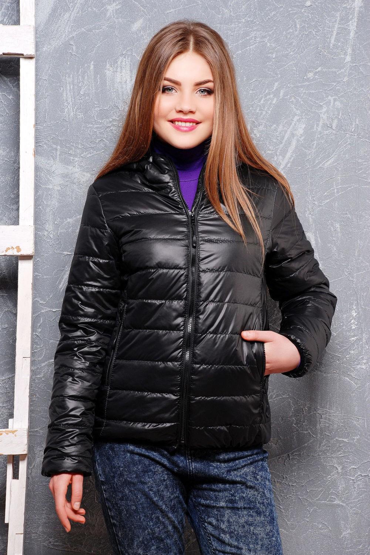 куртка на синтепоне черная короткая
