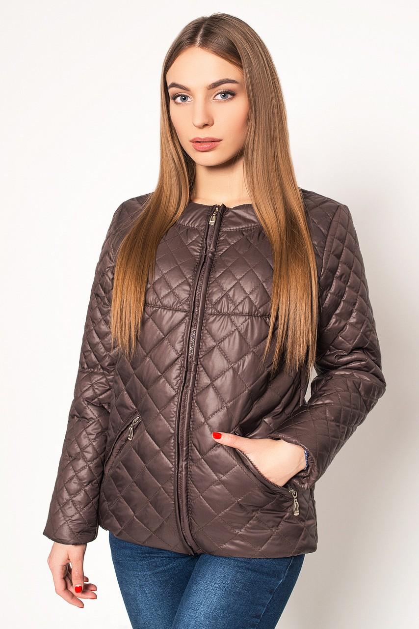 куртка на синтепоне коричневая стеганая ромбы