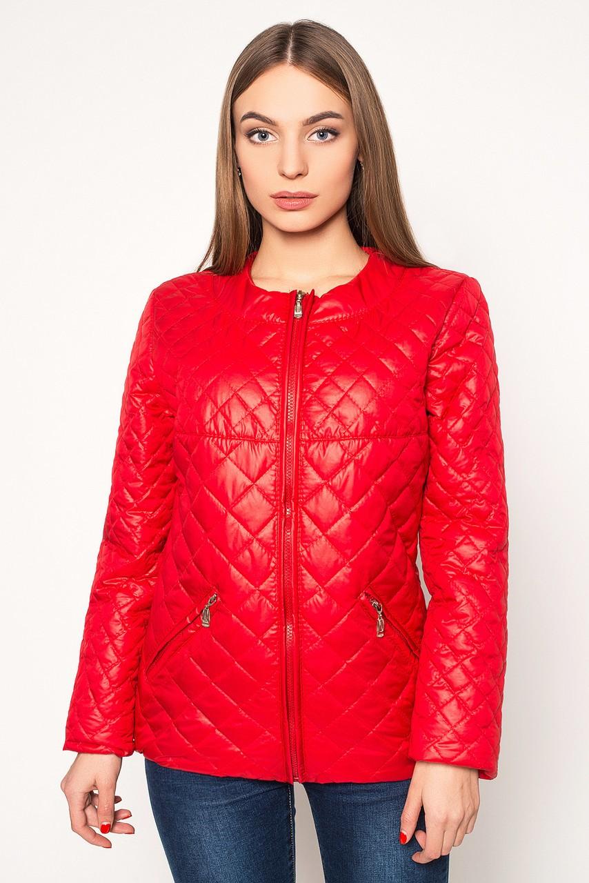 куртка на синтепоне красная стеганая ромбы