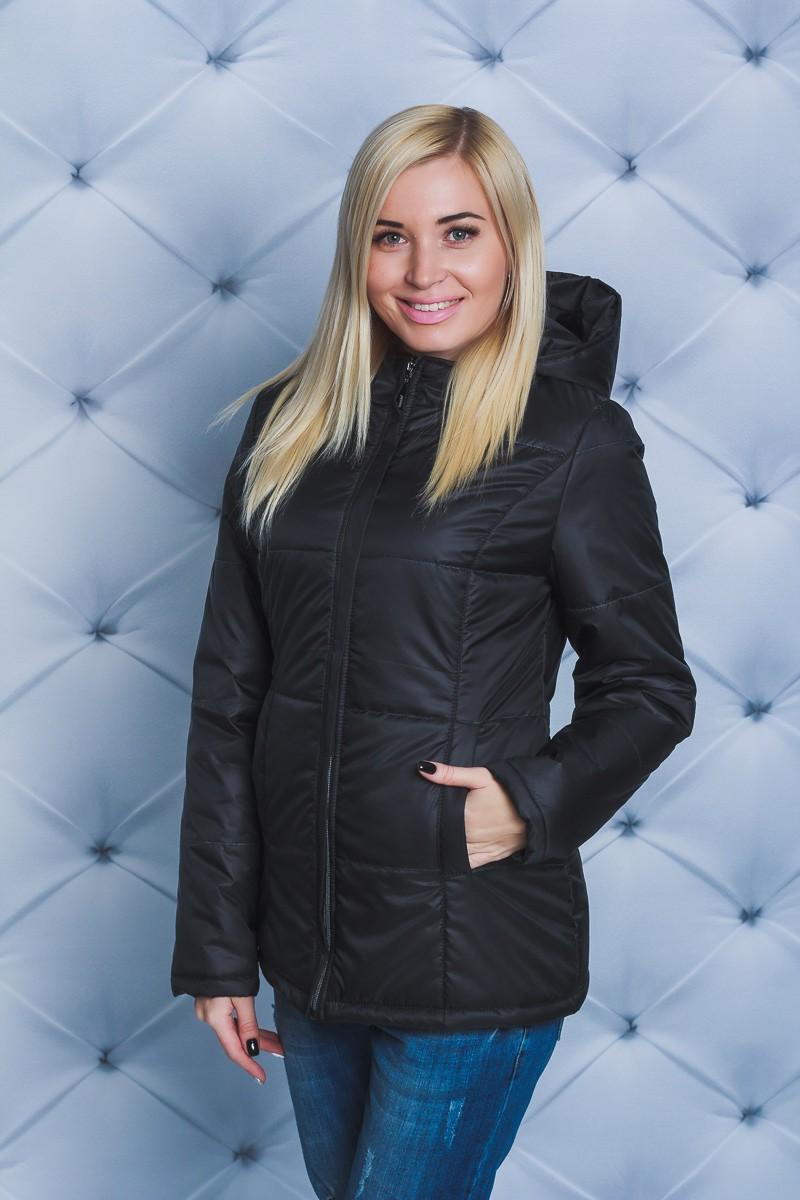 куртка на синтепоне черная средняя длина
