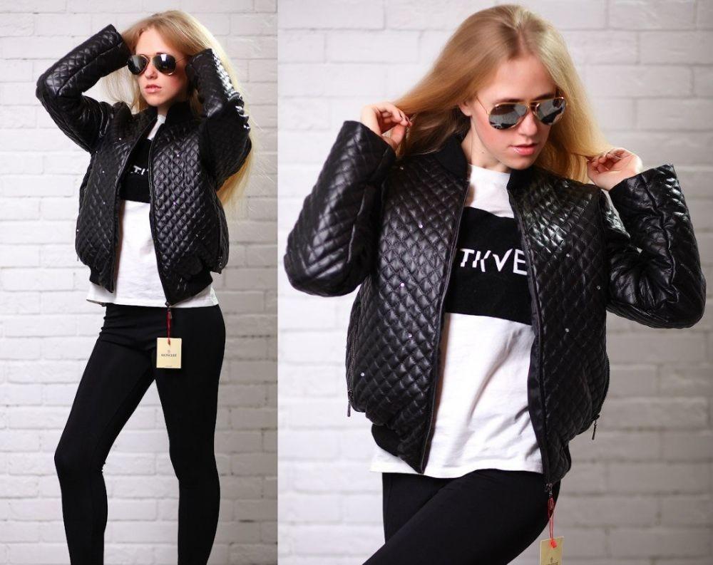 куртка на синтепоне короткая черная стежка квадрат