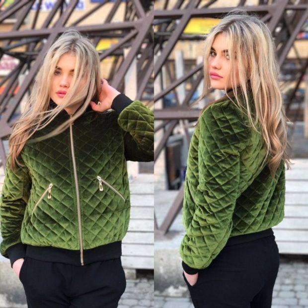 куртка на синтепоне зеленая стежка ромб
