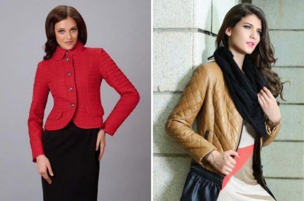 куртка на синтепоне красная стежка квадрат коричневая ромб