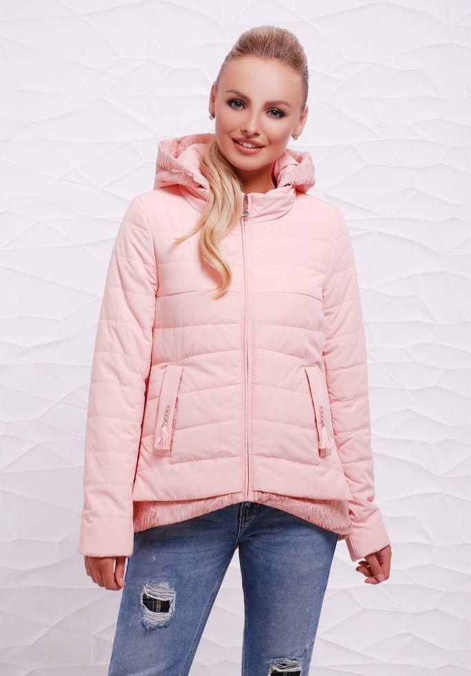 куртка асимметрия на синтепоне розовая