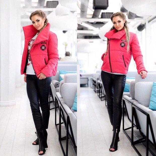 куртка асимметрия на синтепоне красная короткая