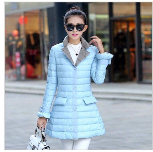 куртка на синтепоне голубая с карманами и воротником