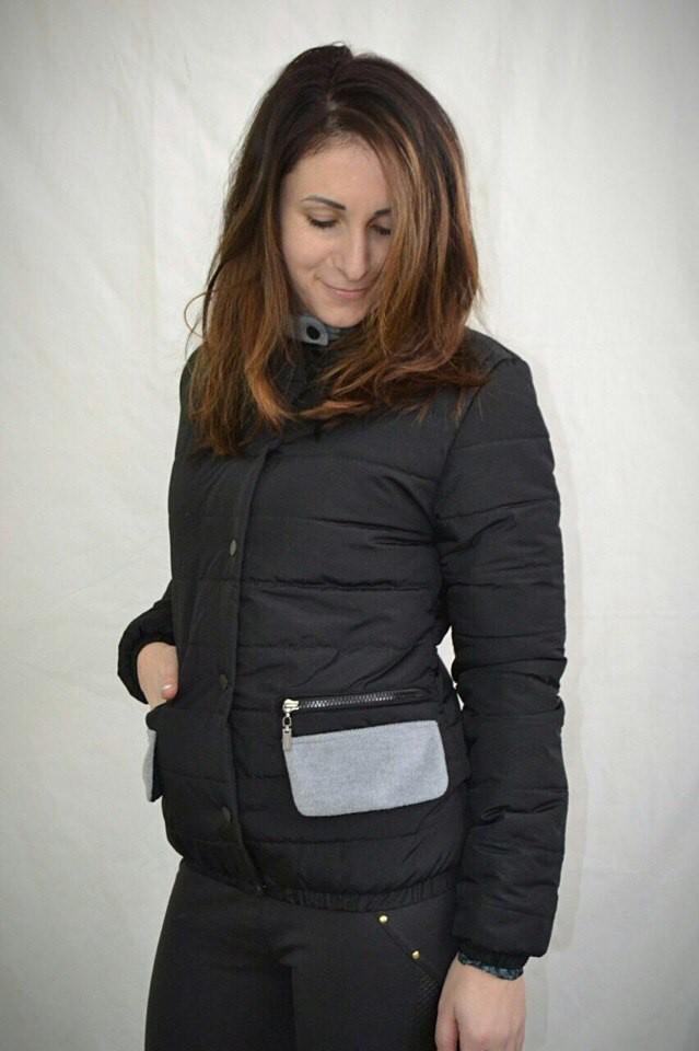 куртка на синтепоне черная короткая с карманами