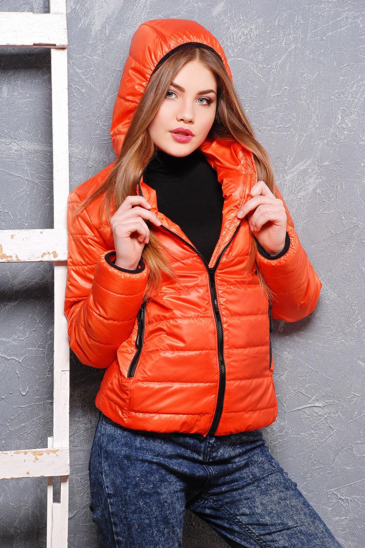 куртка на синтепоне оранжевая короткая спортивная