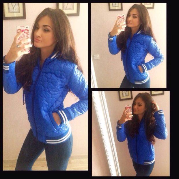 куртка на синтепоне короткая синяя спортивная