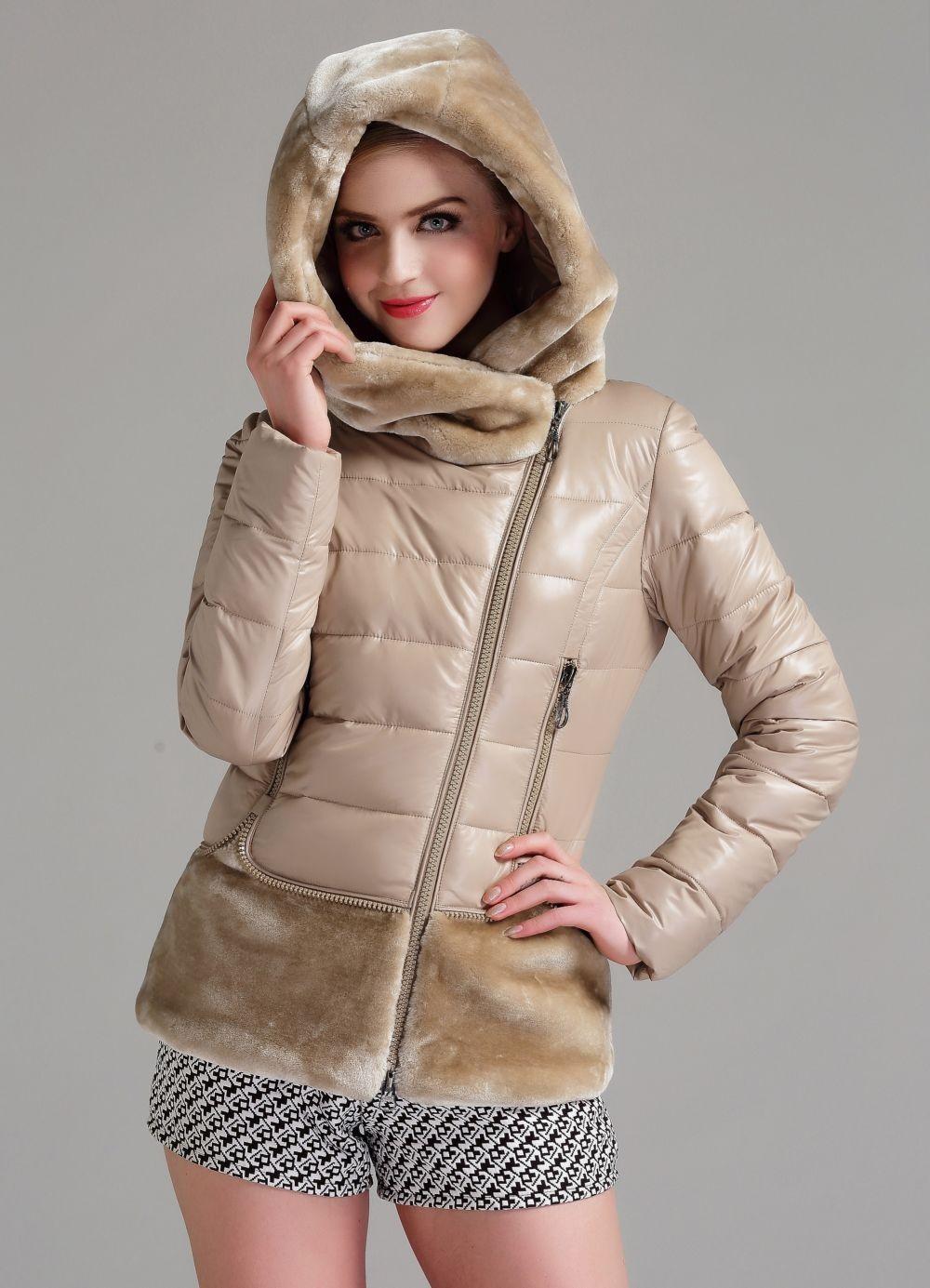 куртка из синтепона бежевая с мехом