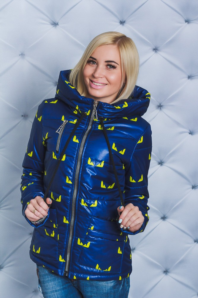 куртка на синтепоне синяя в желтые узоры