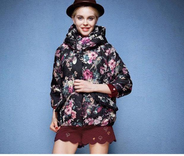куртка из синтепона оверсайз в цветы
