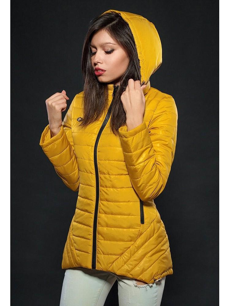 куртка на синтепоне желтая с капюшоном
