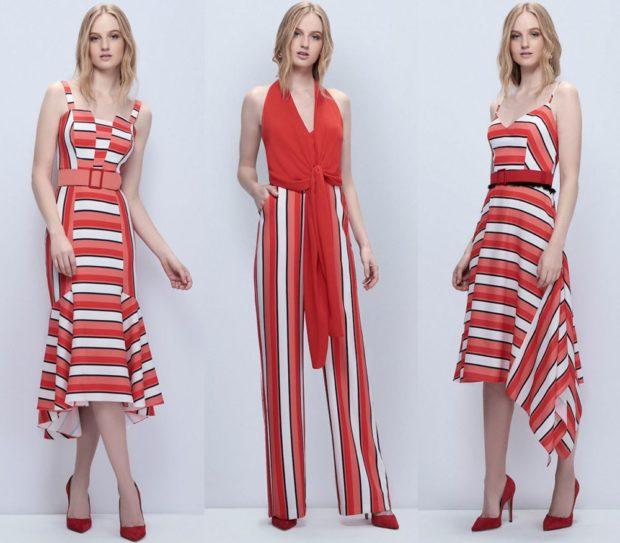 модные принты 2018 2019: платье полосатое красное с белым комбинезон в полоску платье
