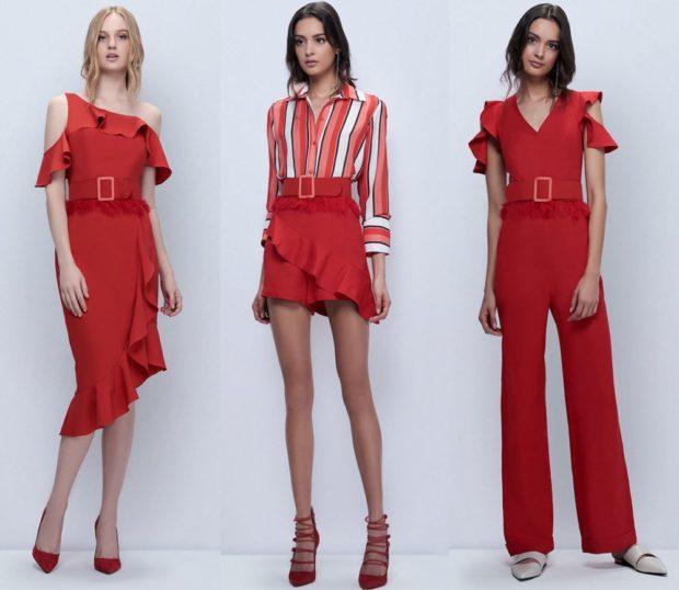 модные принты 2018 2019: красное платье юбка красная рубашка в полоску