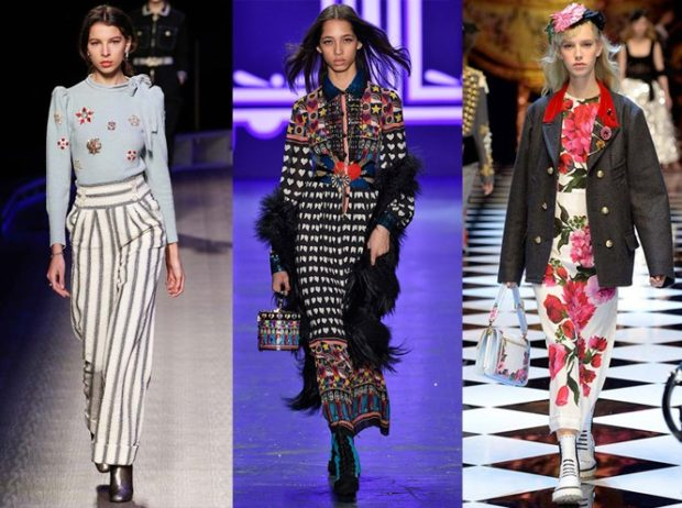 модные принты 2018 2019: штаны в полоску кофта в цветы платье гусиная лапка