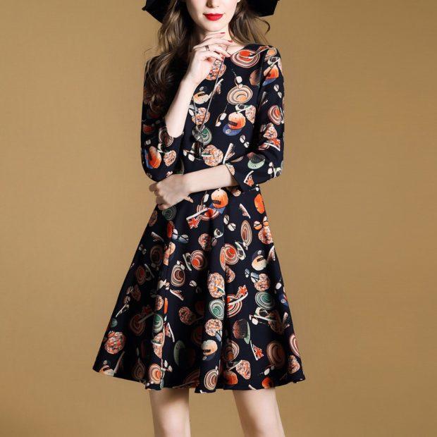 модные принты 2018 2019: платье черное