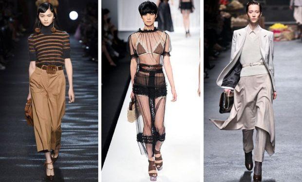 модные принты 2018 2019: коричневые кюлоты футболка в полоску