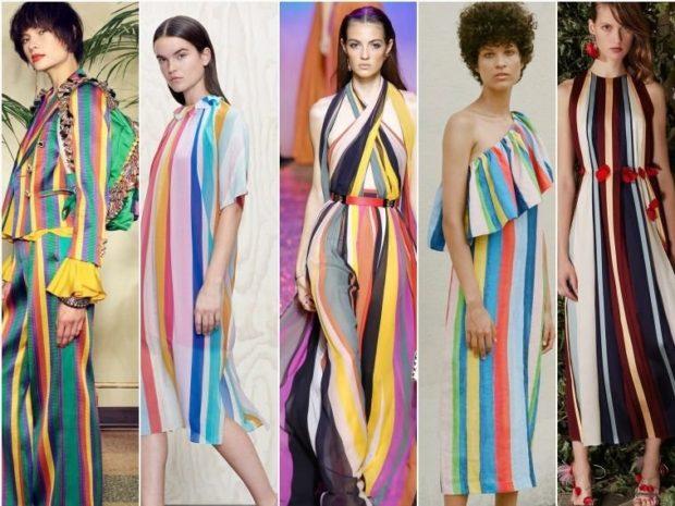 модные принты 2018 2019: одежда в яркую полоску вертикальную