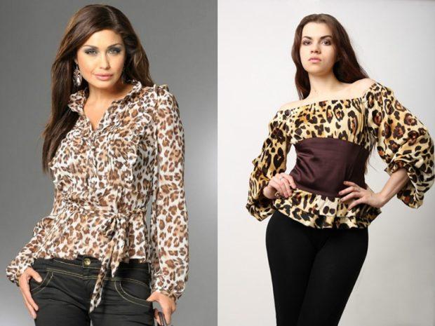 модные принты 2018 2019 года в одежде: шифоновая леопардовая блузка шелковая блузка