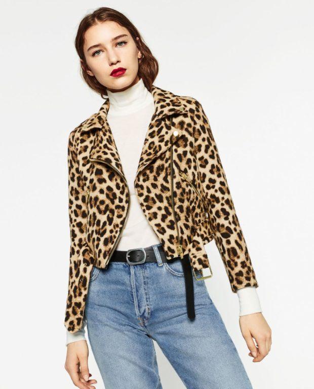 модные принты 2018 2019 года в одежде: куртка короткая леопардовая