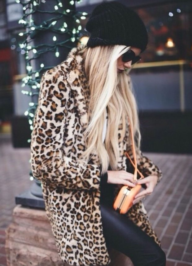 пальто леопардовое длинное
