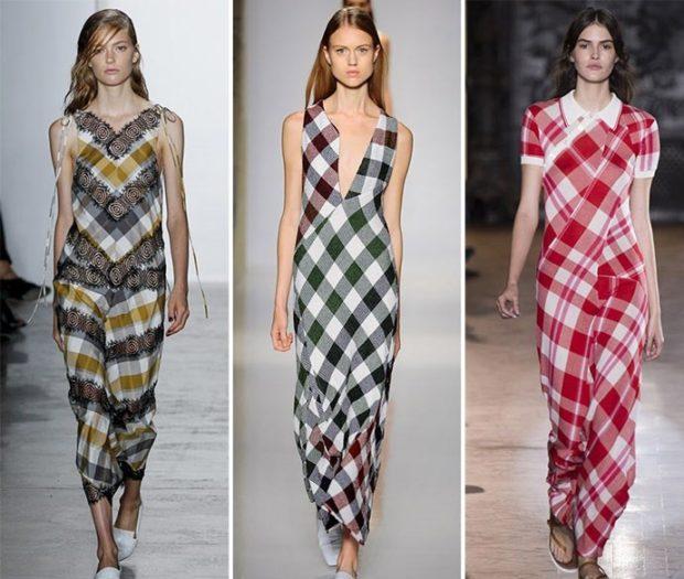 модные принты 2018 2019: сарафаны и платья в ромбы