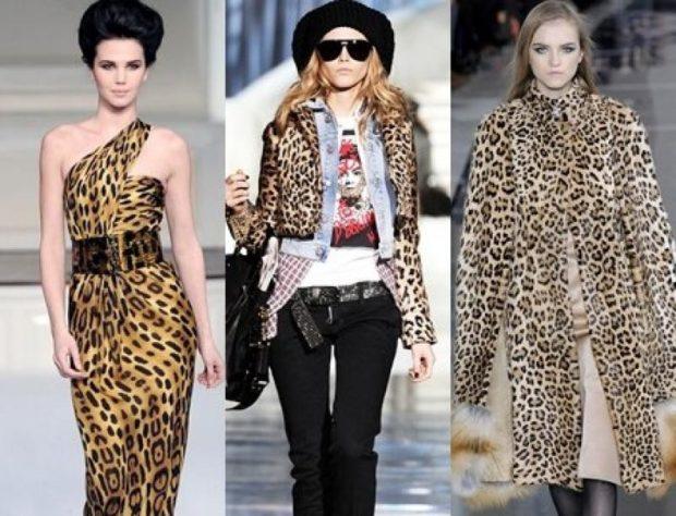 модные принты 2018 2019 года в одежде: леопардовое платье курточка короткая пальто теплое