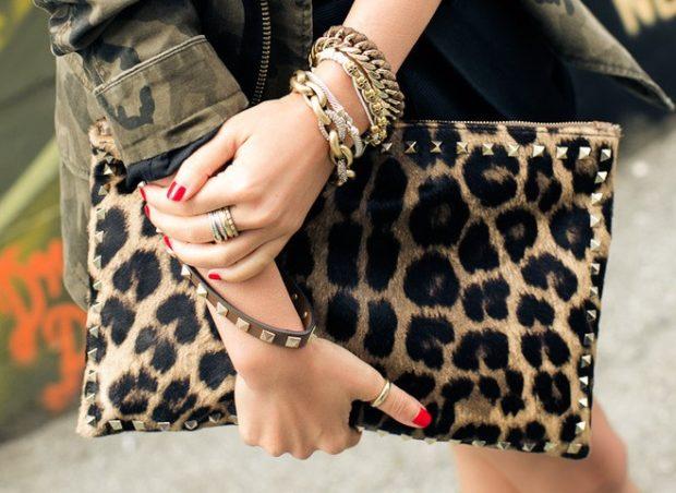 модные принты 2018 2019 года в одежде: клатч леопардовый