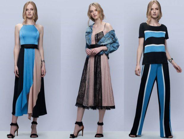 модные принты 2018 2019: платья в полоску синюю с бежевым костюм брючный