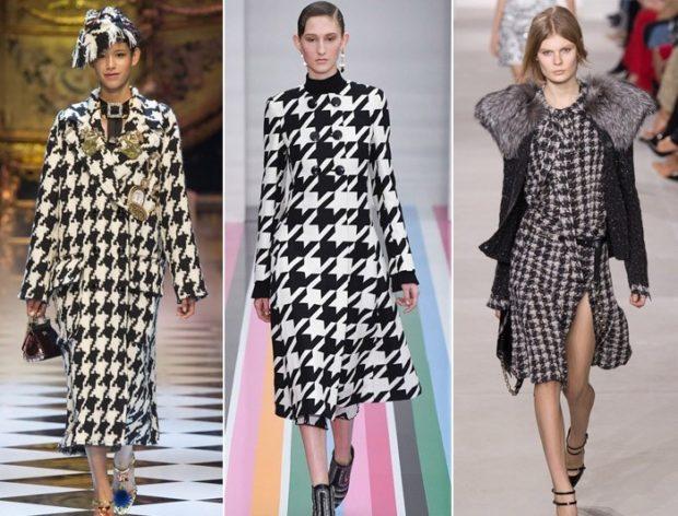 модные принты 2018 2019 года в одежде: пальто гусиная лапка платье миди платье