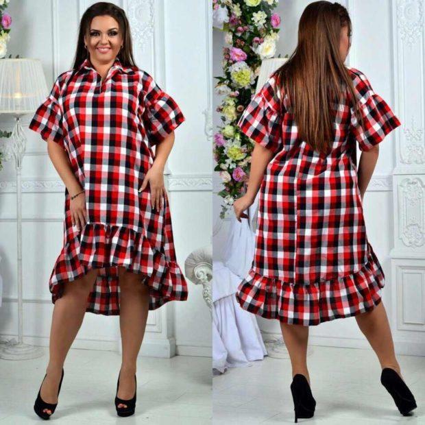 платье красно-черно-белая клетка с воланами
