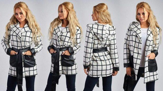 модные принты 2018 2019 года в одежде: пальто черно-белая клетка