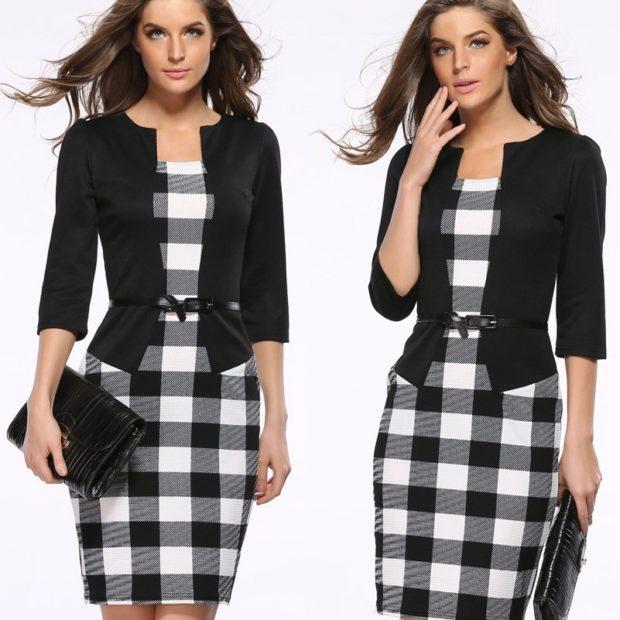 модные принты 2018 2019 года в одежде: платье миди черно-белая клетка