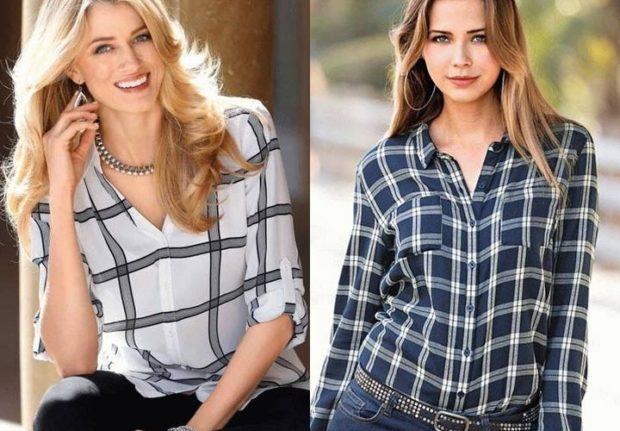 модные принты 2018 2019 года в одежде: черно-белая клетка рубашка синяя с белым
