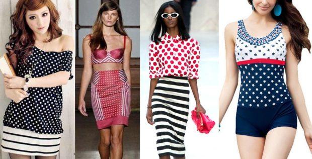 модные принты 2018 2019 года в одежде: платья в горошек черно-белое красная юбка в горох