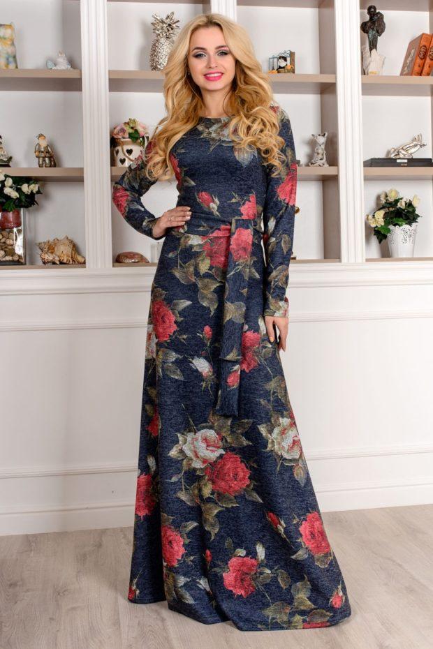 модные принты 2018 2019 года в одежде: платье в пол в розы