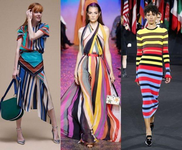 модные принты 2018 2019 года в одежде: одежда в полоску яркую вертикальную