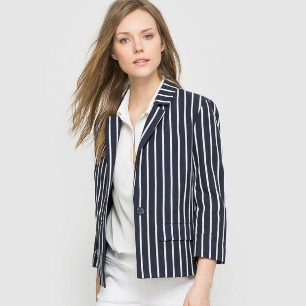 модные принты 2018 2019 года в одежде: жакет черный в белую полоску