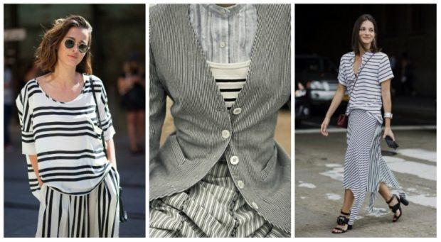 модные принты 2018 2019 года в одежде: костюм в черно-белую полоску юбка и кофта