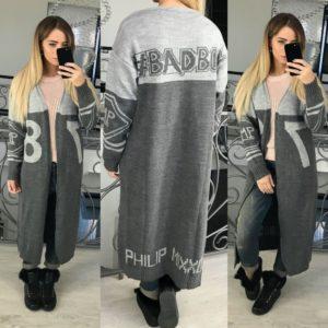 модные принты 2018 2019 года в одежде: кардиган серый макси с надписями