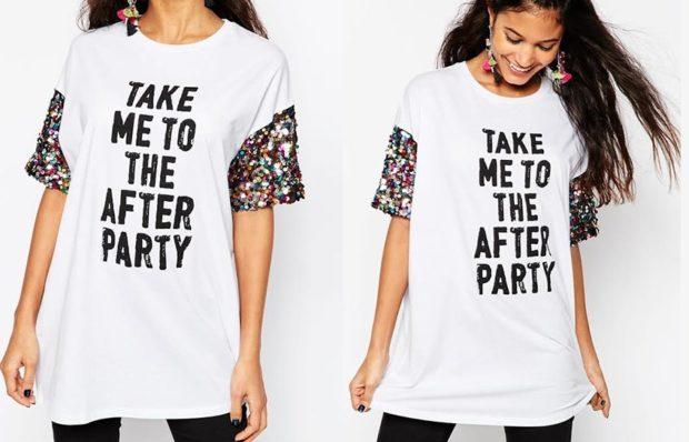 модные принты 2018 2019 года в одежде: футболка белая с надписями