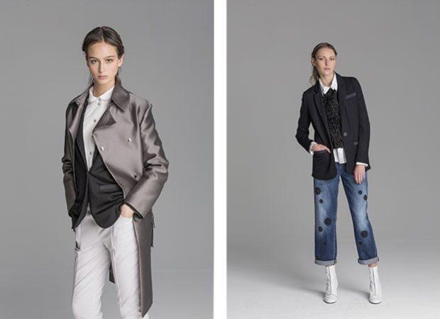 модные принты 2018 2019: серый костюм черный верх катоновый низ кюлоты
