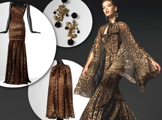 леопардовое платье с широкими рукавами из шифона